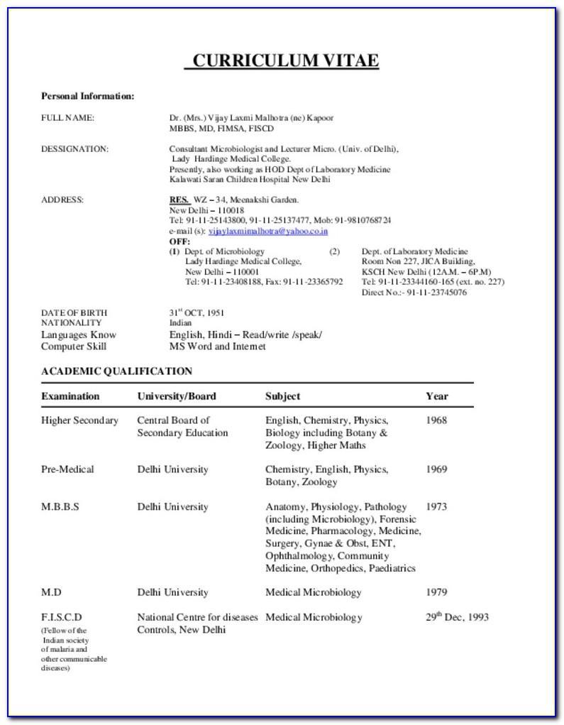 Sample For Curriculum Vitae Pdf