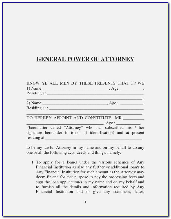Sample General Power Of Attorney Document India