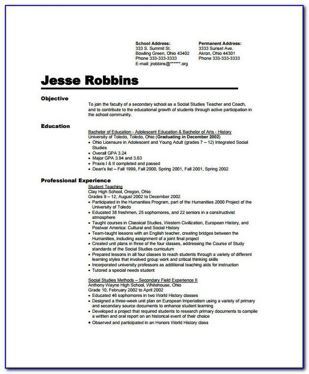 Sample In Resume New Grad
