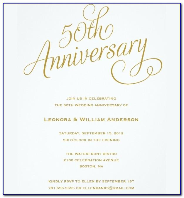 Sample Invitation Cards For Wedding Anniversary