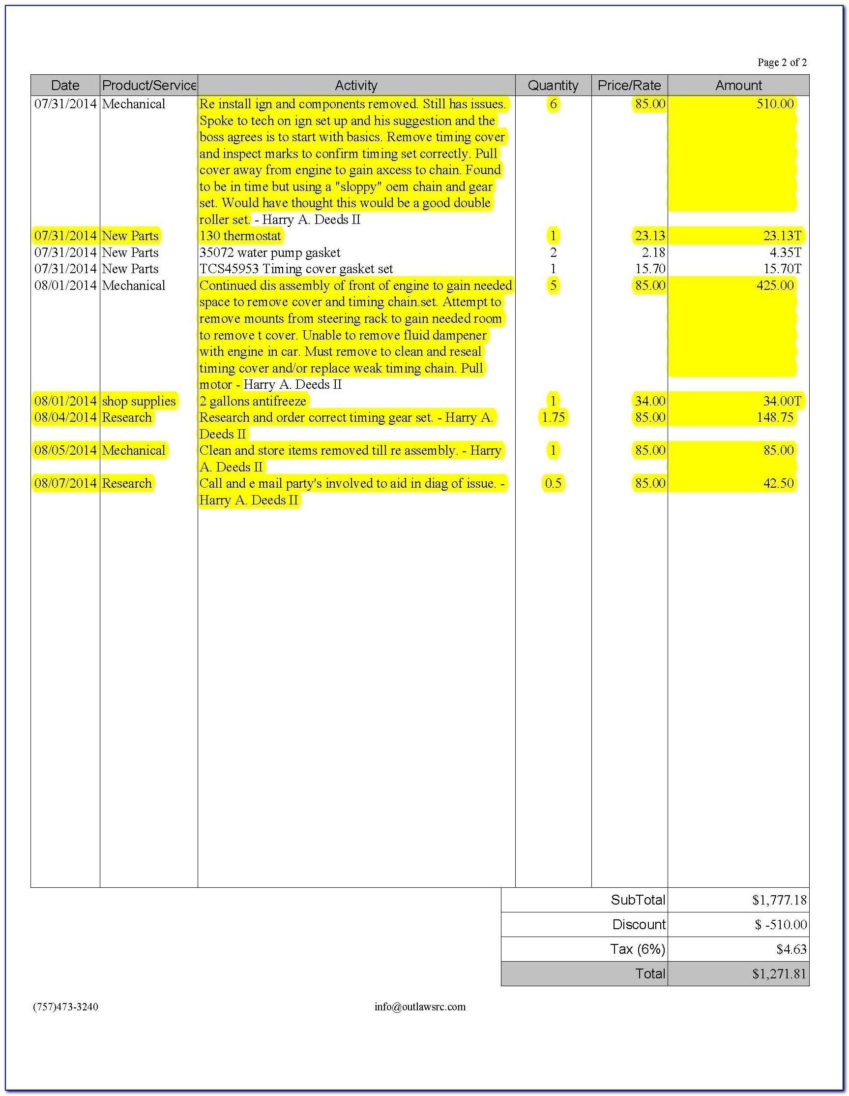 Sample Invoice Professional Services Fees
