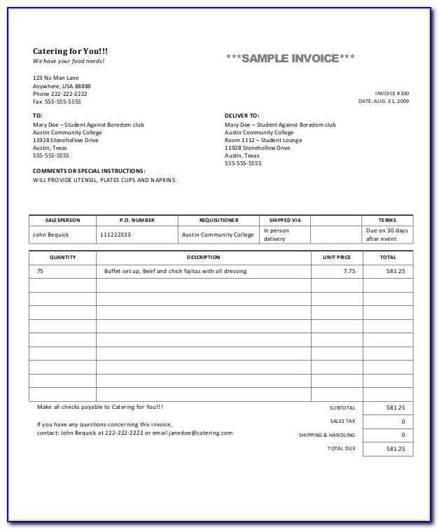 Sample Invoice Template Pdf