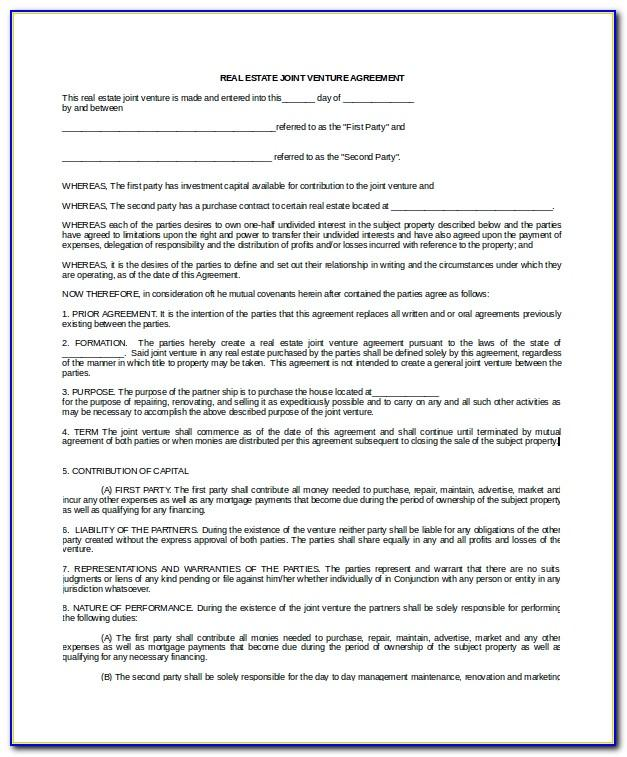 Sample Joint Venture Agreement Between Two Companies In India