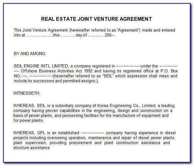 Sample Joint Venture Agreement For Mining