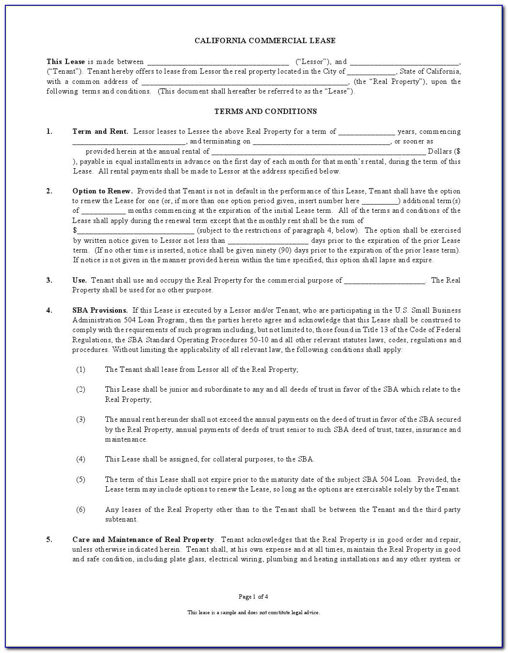 Sample Lease Agreement California Word Document