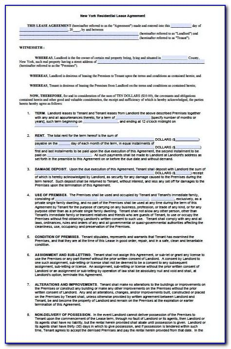 Sample Lease Agreement Nyc