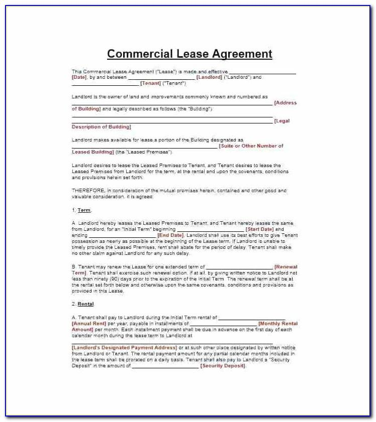 Sample Lease Agreement Word