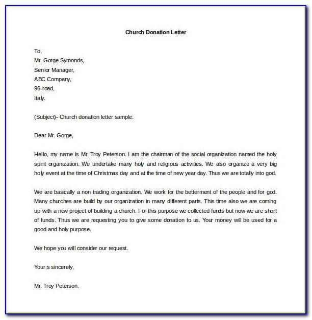 Sample Letter Asking For Donations For Church Pdf