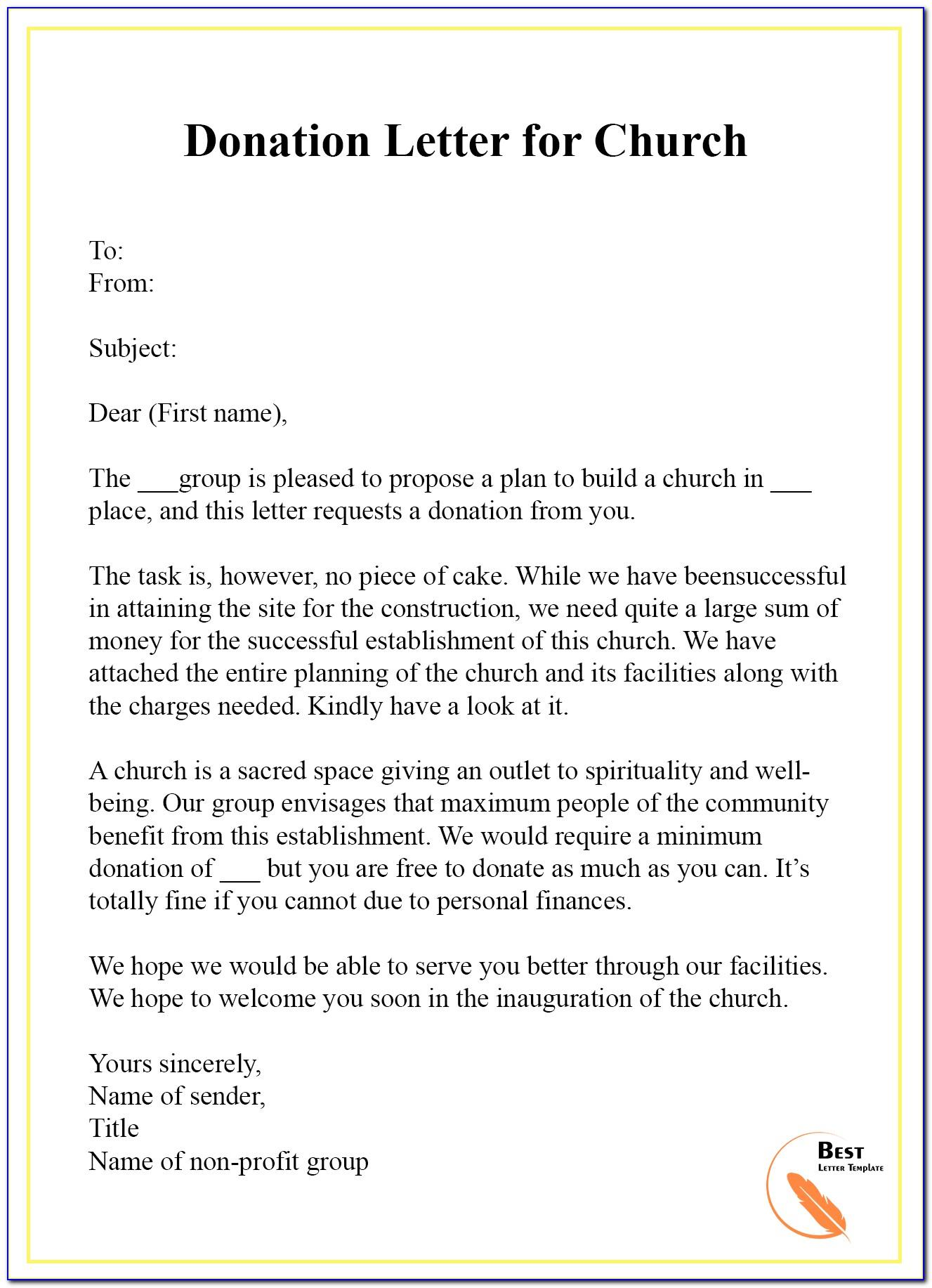 Sample Letter Church Requesting Donations