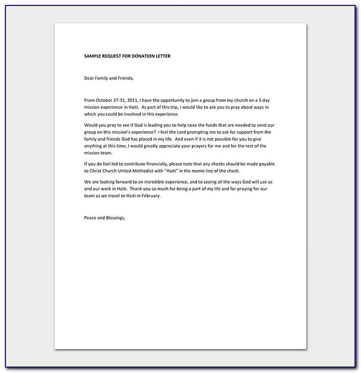 Sample Letter Of Request For Donation For A School