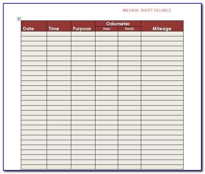 Sample Mileage Log Sheet Excel