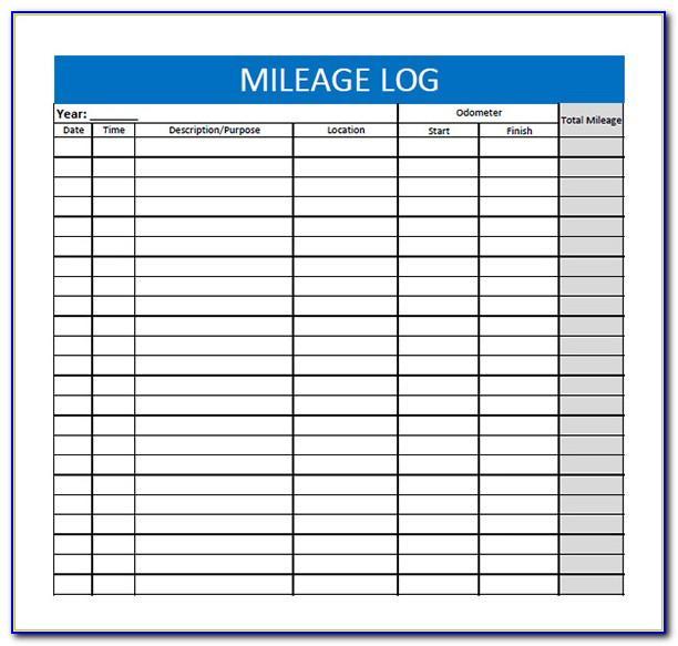 Sample Mileage Log Sheet