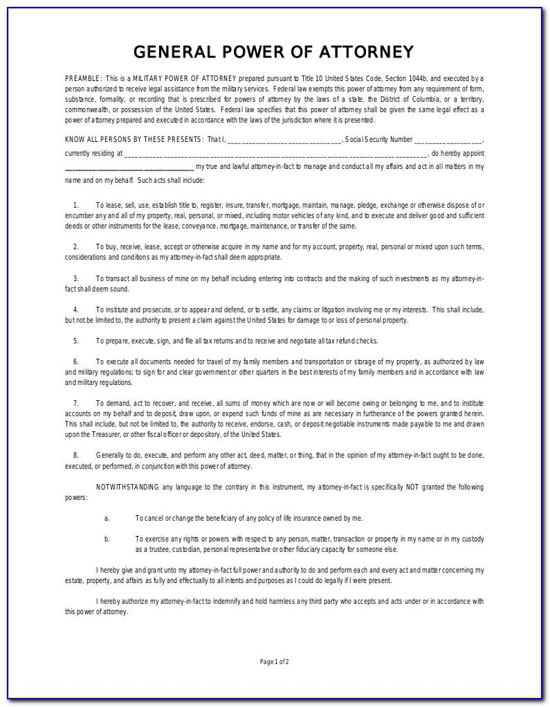 Sample Of Durable Power Of Attorney Document