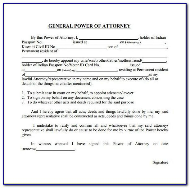 Sample Of General Power Of Attorney For Property In India