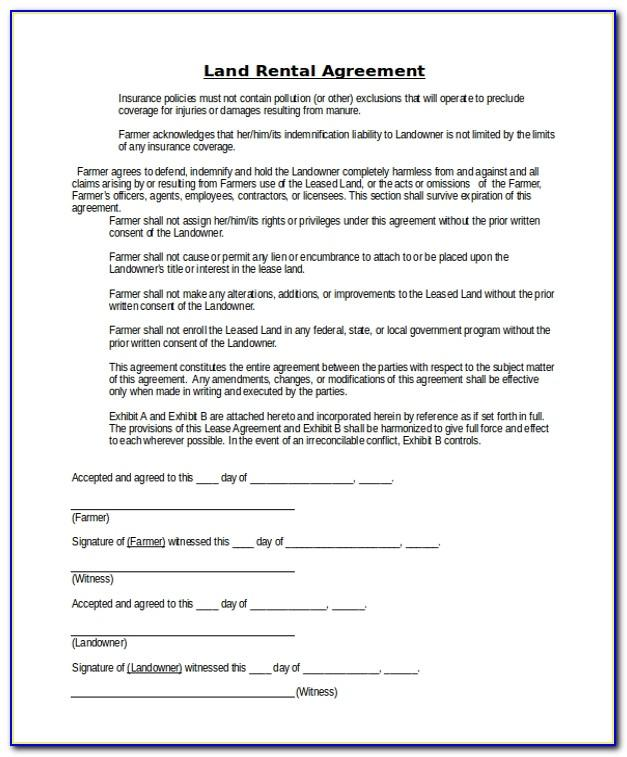 Sample Of Lease Contract For Land