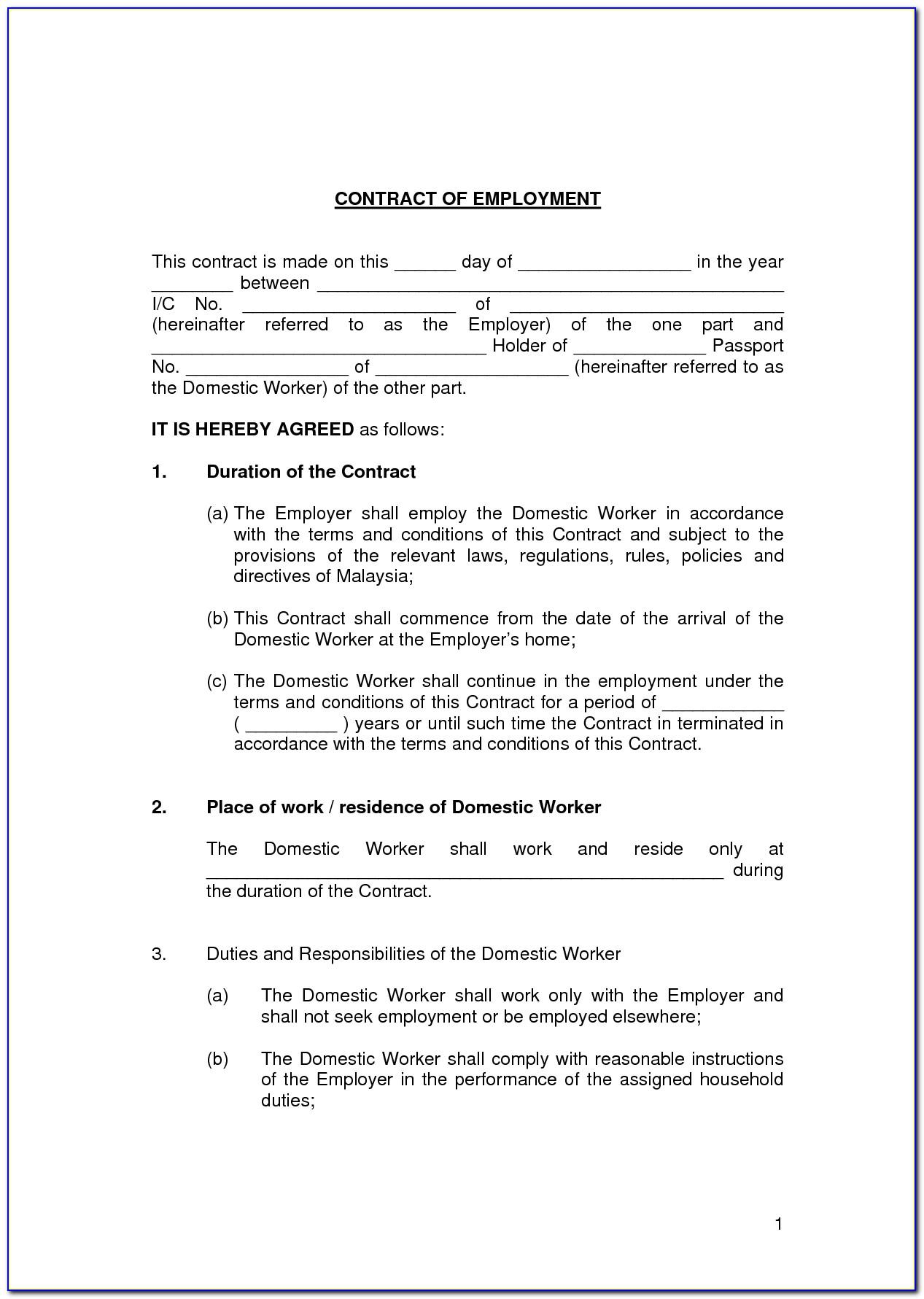 Sample Of Letter Of Employment Contract Basis Malaysia