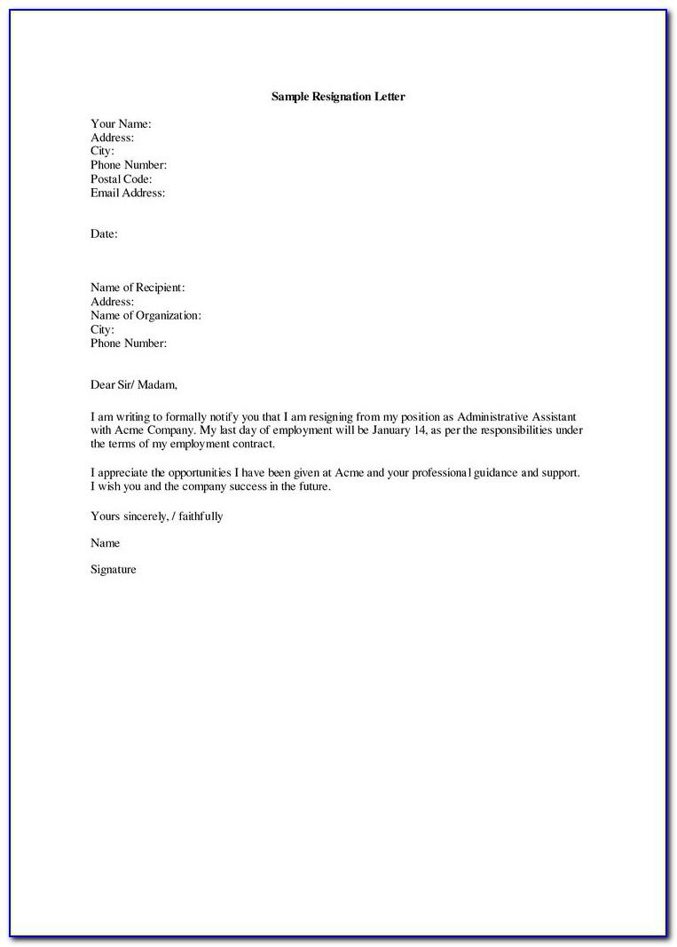 Sample Of Letter Of Resignation For A Job