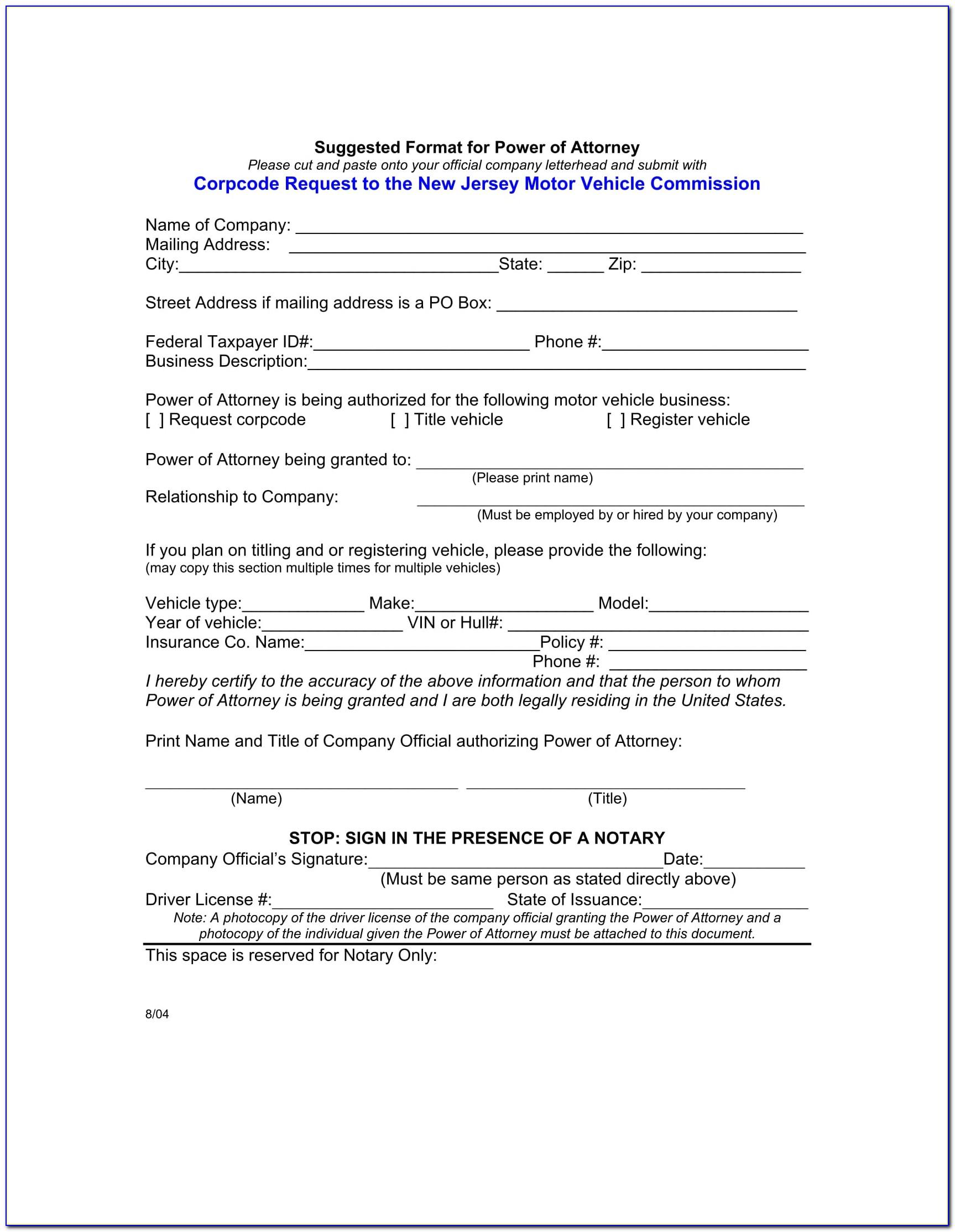 Sample Power Of Attorney Form Florida
