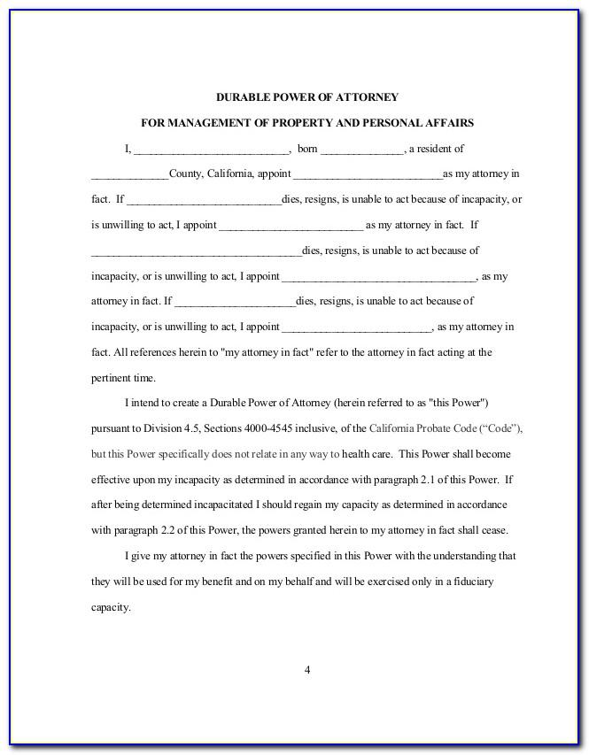 Sample Power Of Attorney Form Maryland
