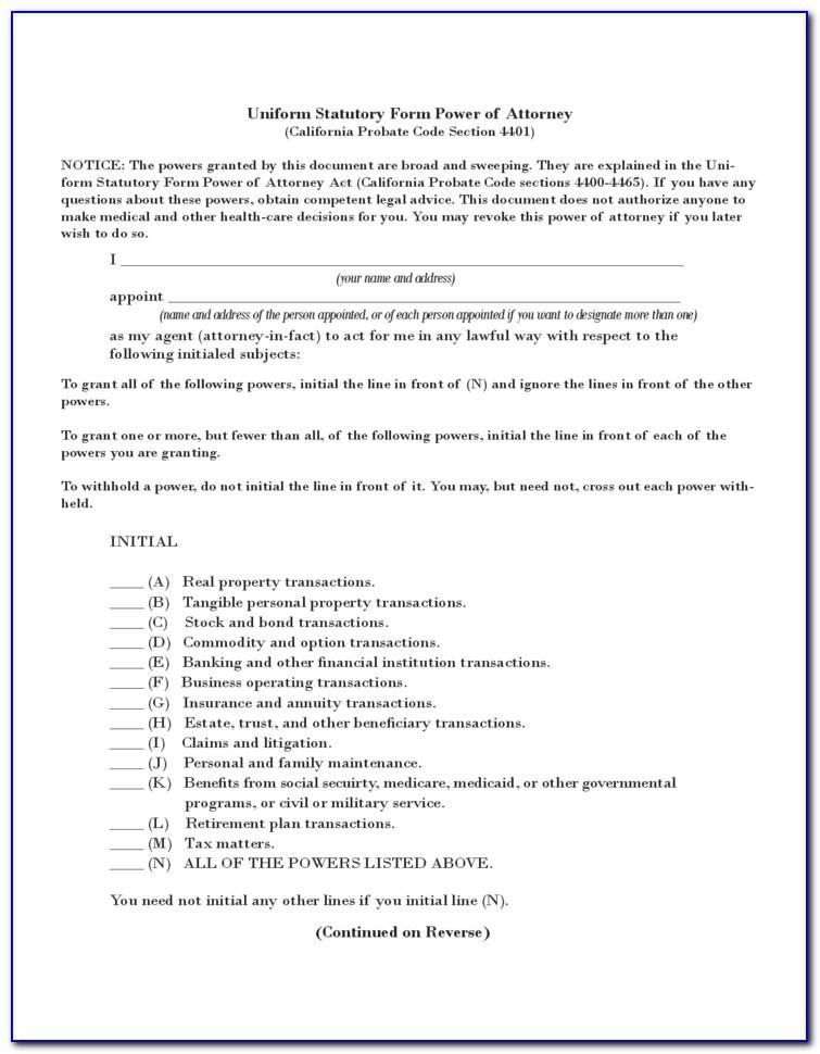 Sample Power Of Attorney Form Ohio