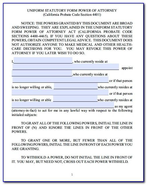 Sample Power Of Attorney Form Uk
