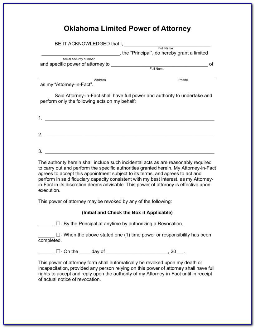 Sample Power Of Attorney Form Word