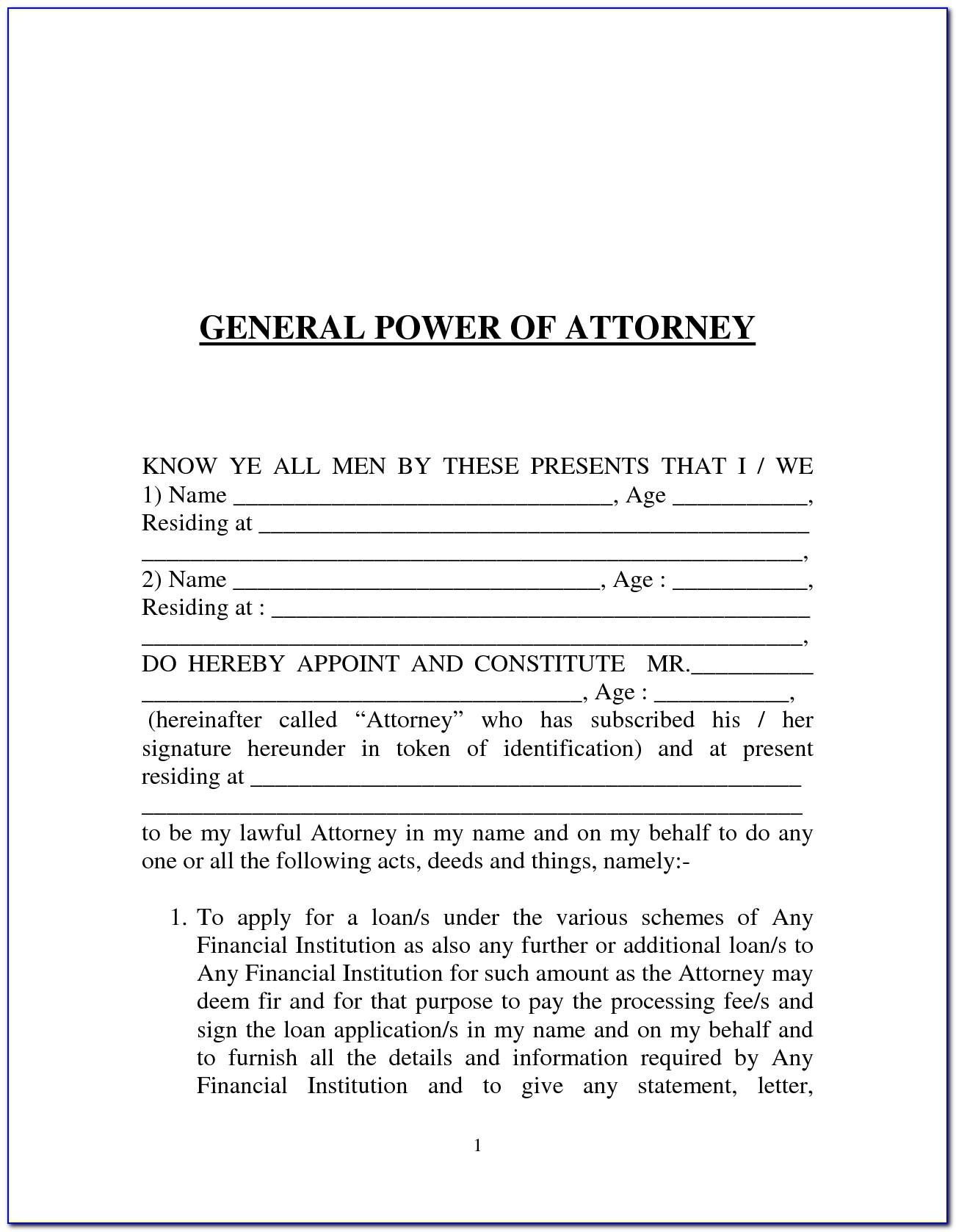 Sample Power Of Attorney In Word Format