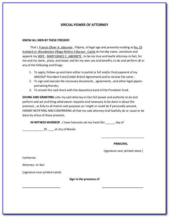 Sample Power Of Attorney Letter India