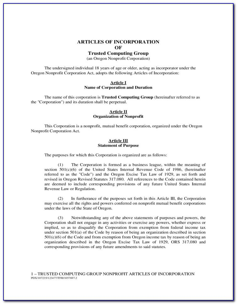 Sample Primary Purpose Articles Of Incorporation
