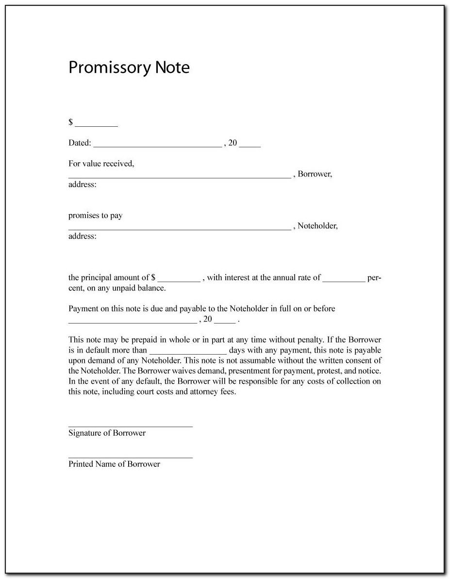 Sample Promissory Note Loan Agreement