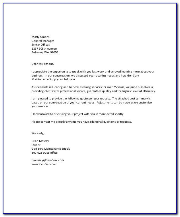 Sample Proposal Letter For A Cleaning Company