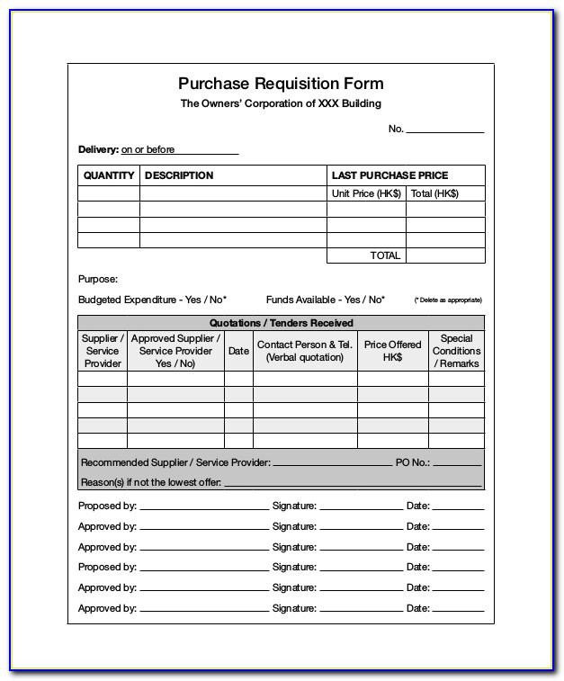 Sample Purchasing Requisition Form