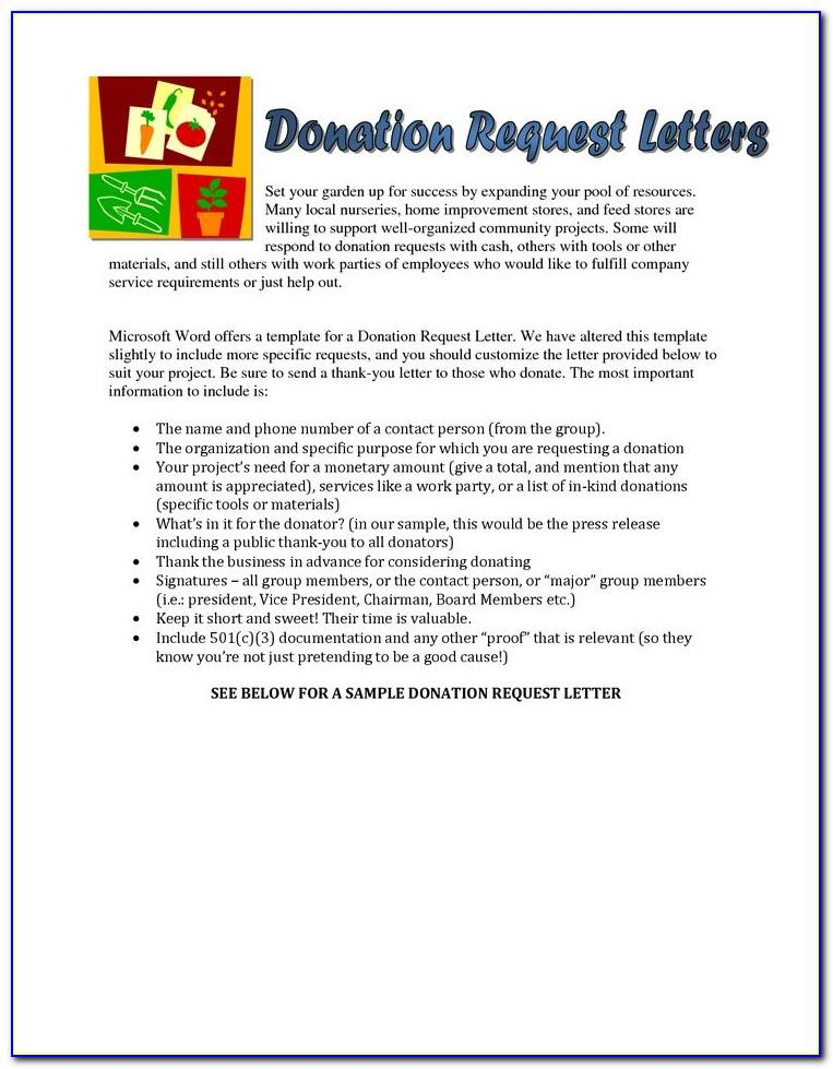 Sample Request Letter For Donation To Church