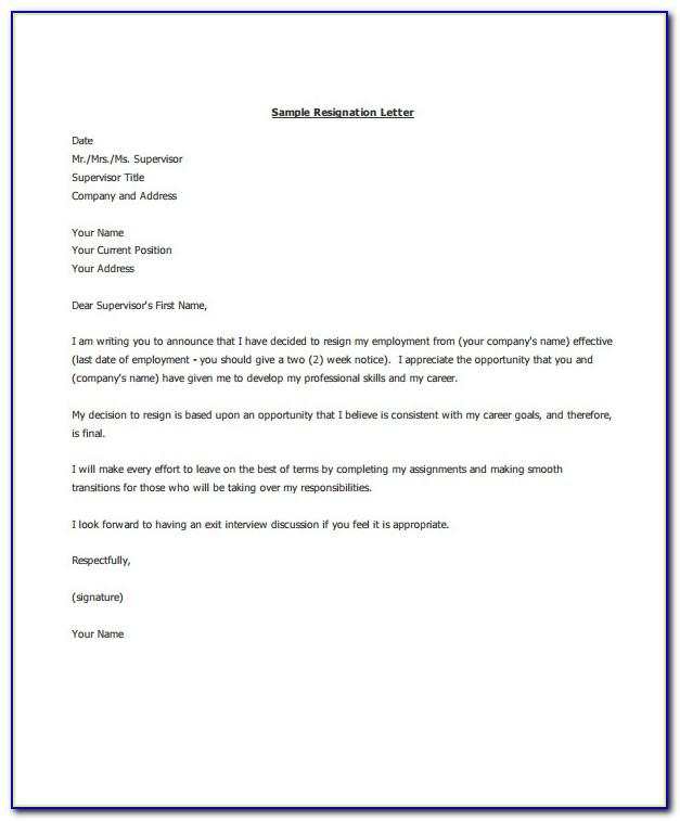 Sample Resignation Letter Template Email