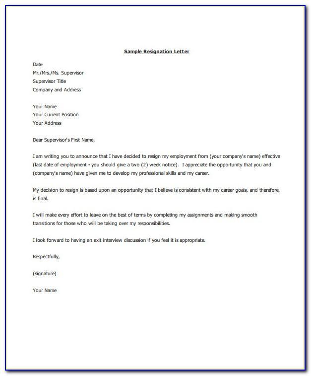 Sample Resignation Letter Template For Teachers