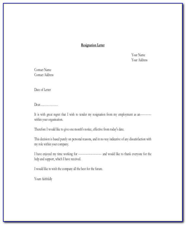 Sample Resignation Letter Template Free Download