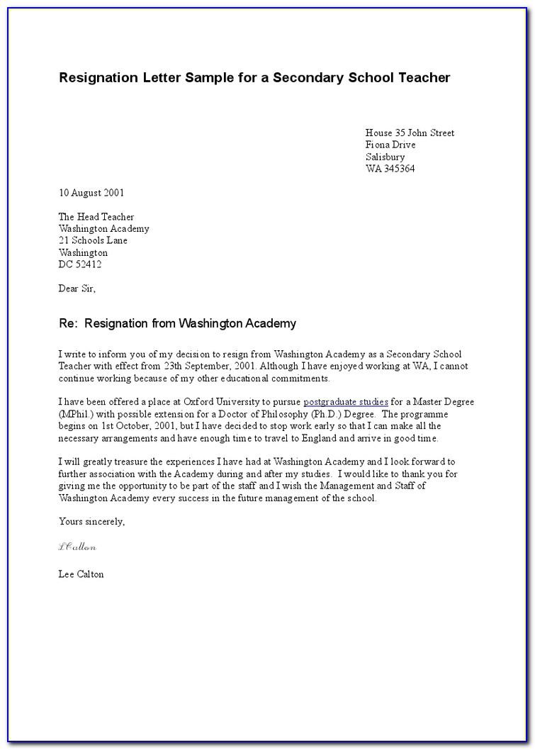 Sample Resignation Letter Templates Free