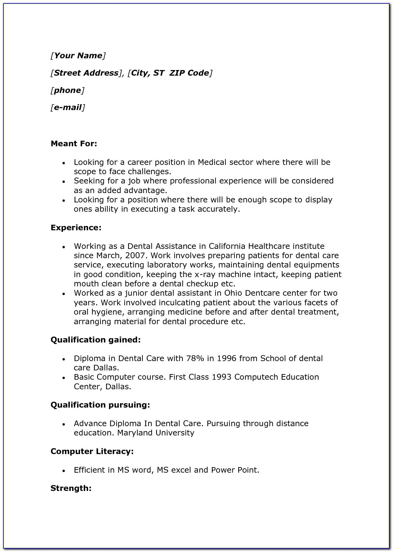 Sample Restaurant Server Resume Template