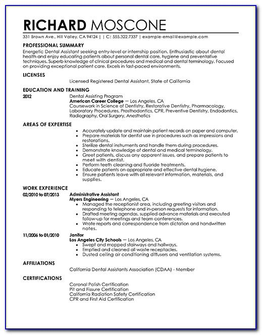 Sample Resume Dental Assistant No Experience