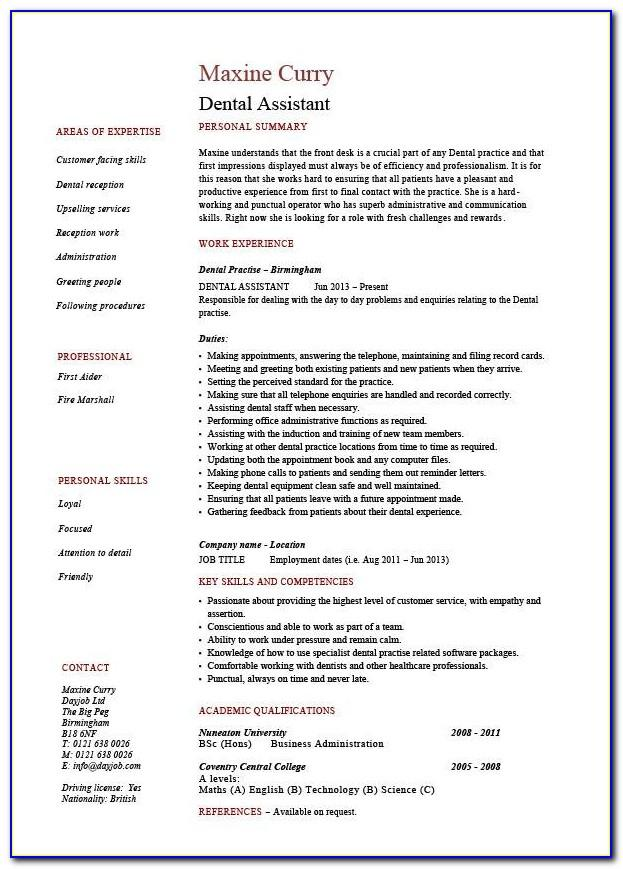Sample Resume Dental Assistant Skills Checklist