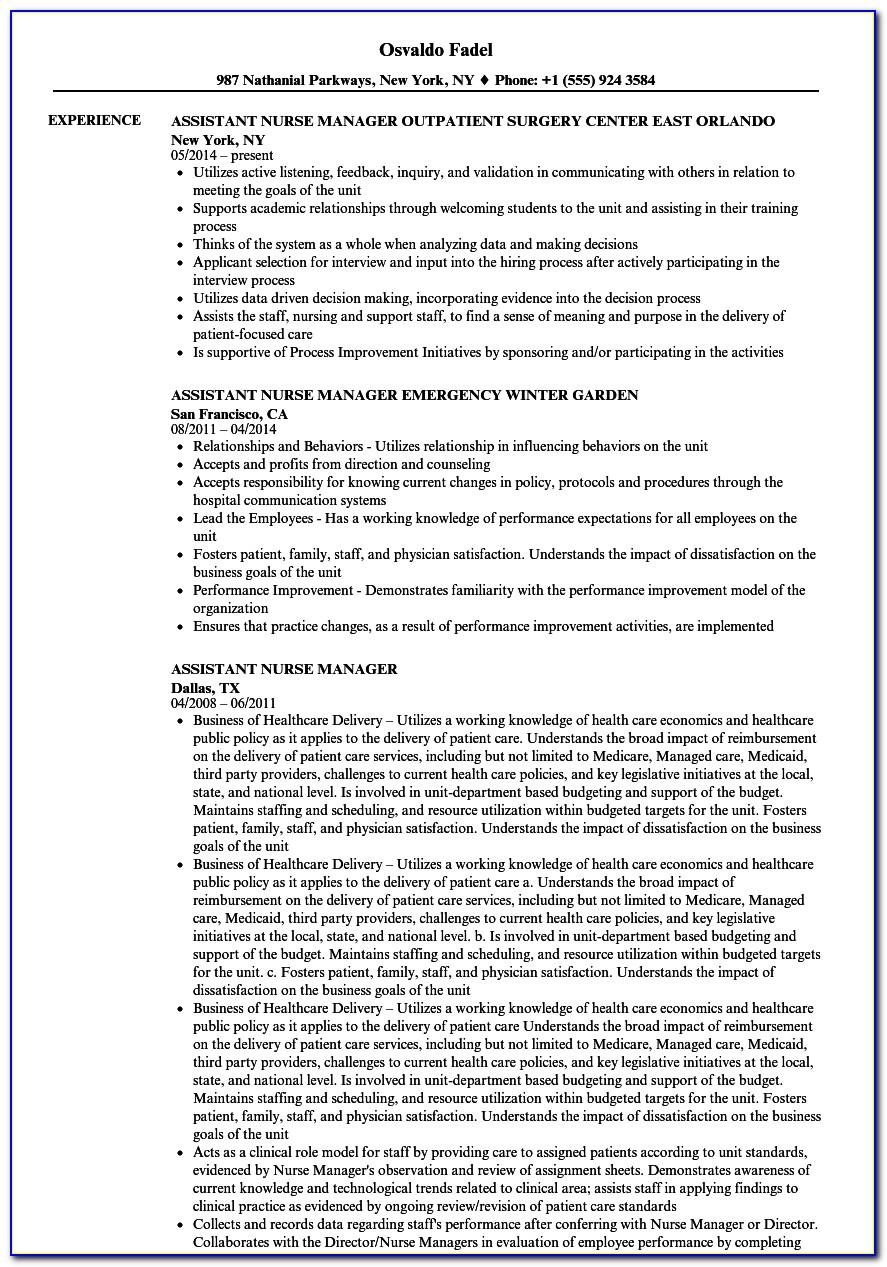 Sample Resume For Assistant Nurse Manager Position