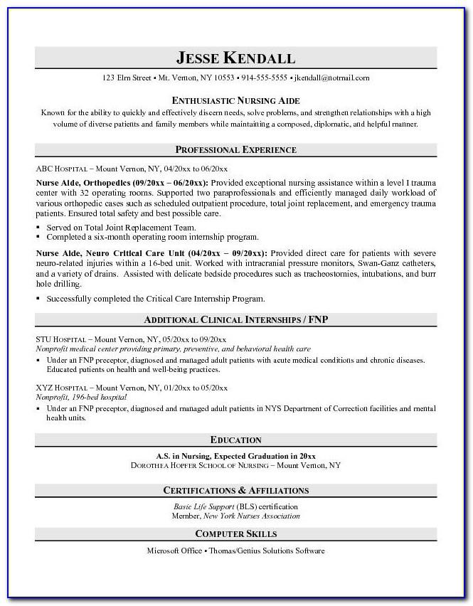 Sample Resume For Cna Instructor