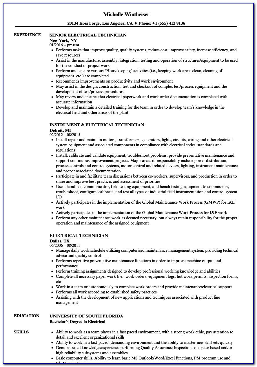 Sample Resume For Electrical Commissioning Technician