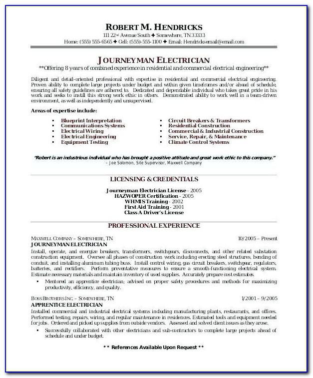 Sample Resume For Electrical Maintenance Manager