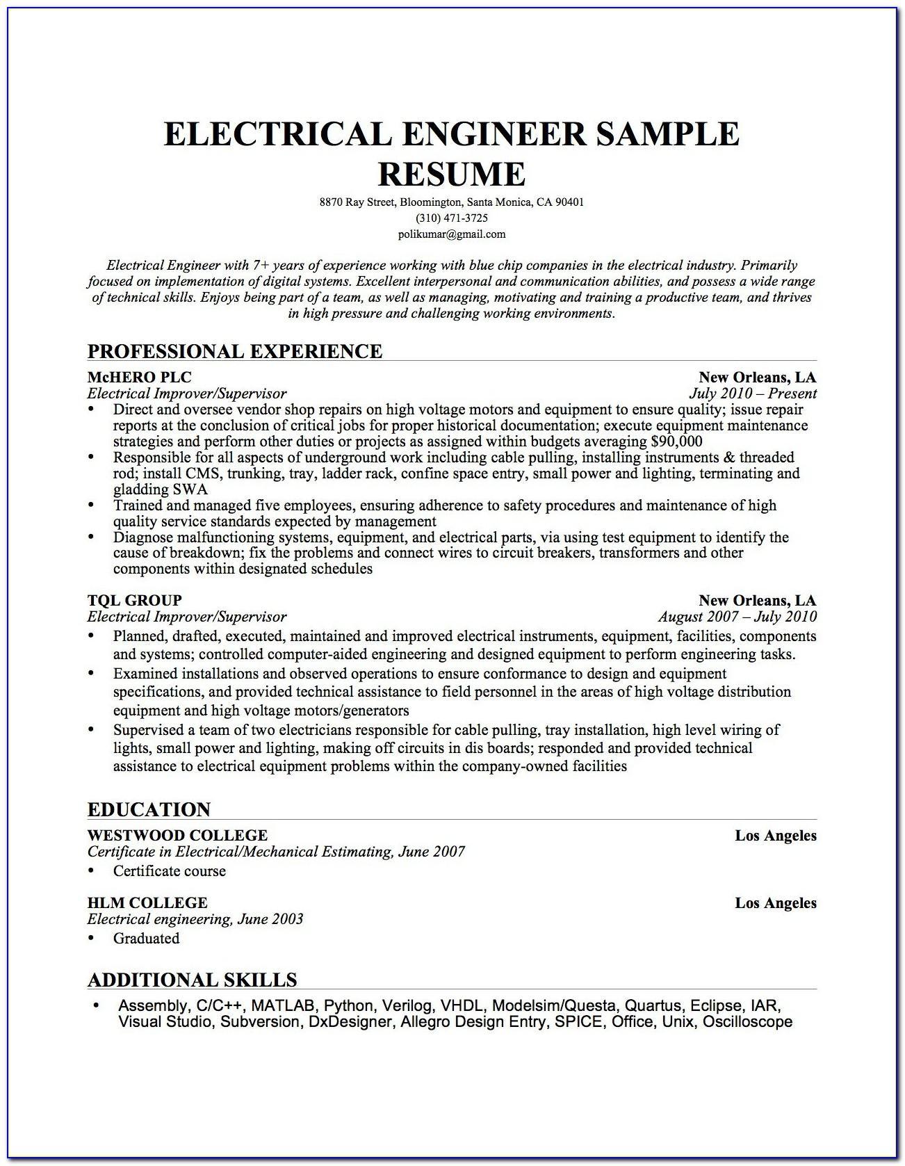 Sample Resume For Electrical Maintenance Supervisor