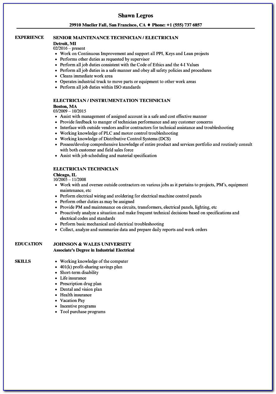 Sample Resume For Electrical Maintenance Technician