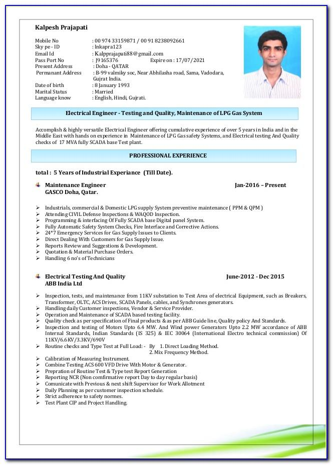 Sample Resume For Electrician In India