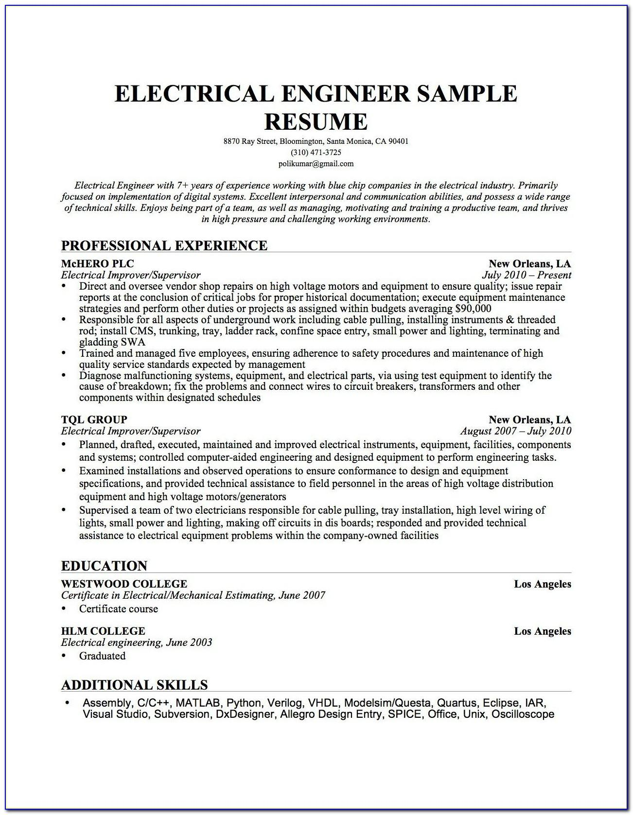 Sample Resume For Experienced Electrical Maintenance Engineer
