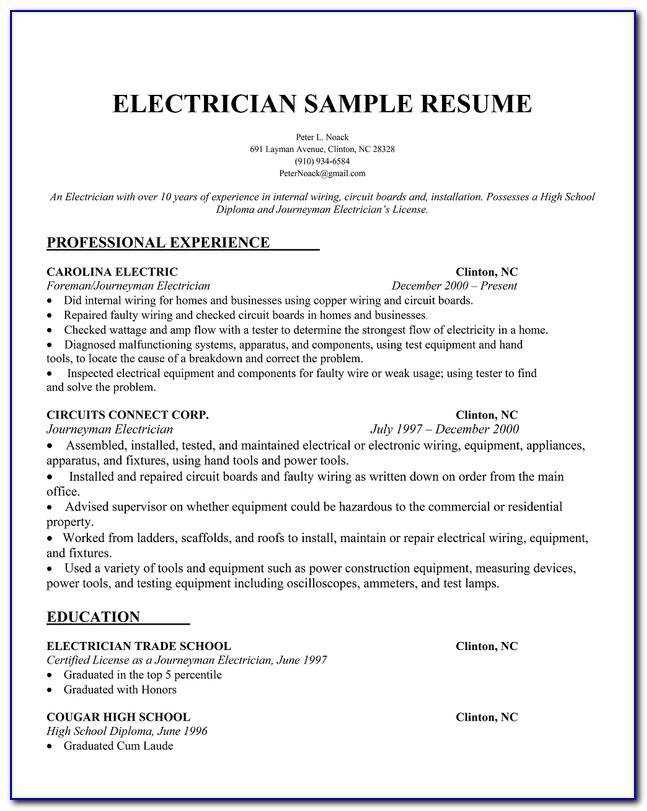 Sample Resume Format For Electrical Technician
