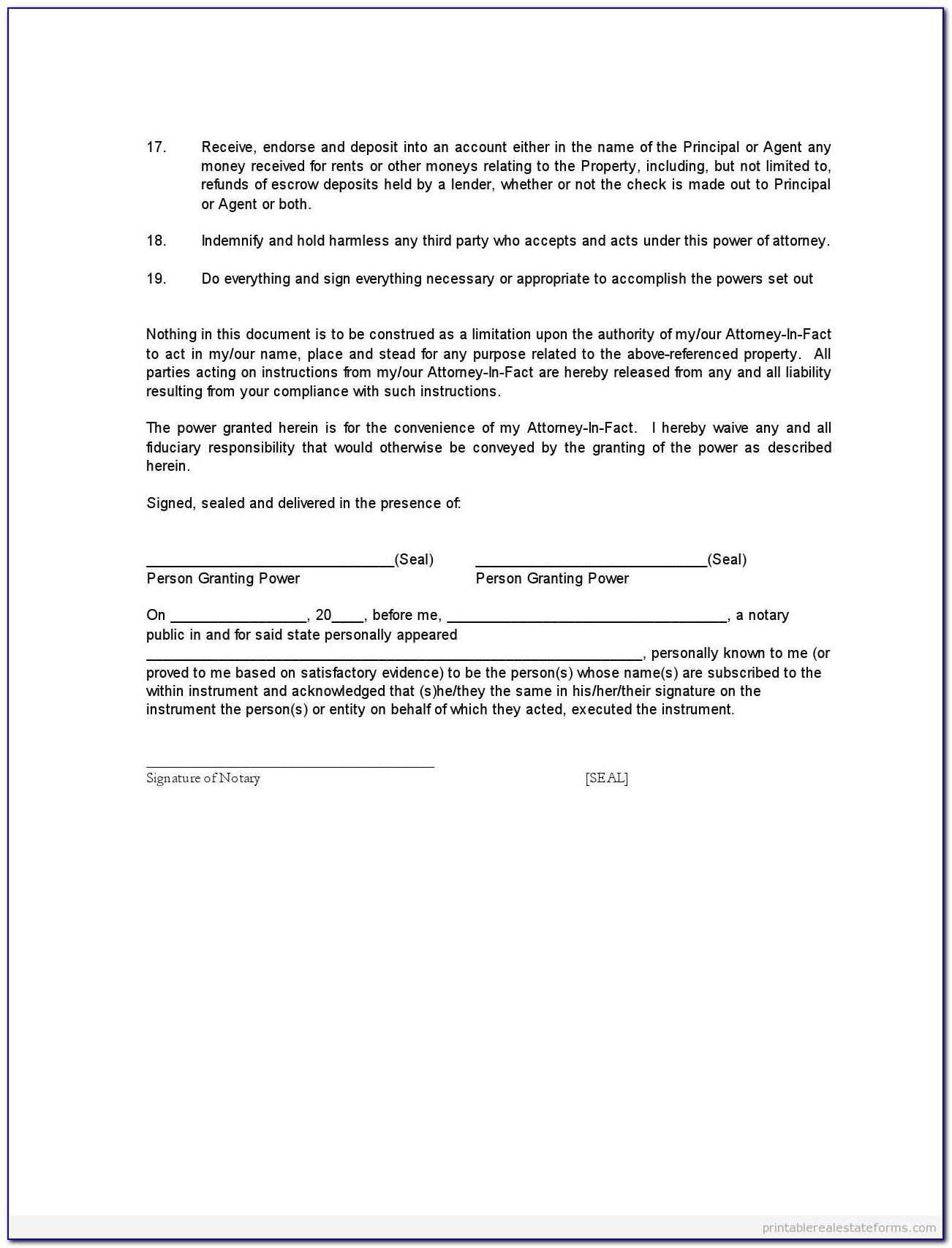 Sample Special Power Of Attorney Format